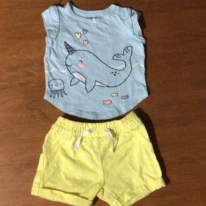 2-Piece Outfit with Narwhal and Polka Dots EUC